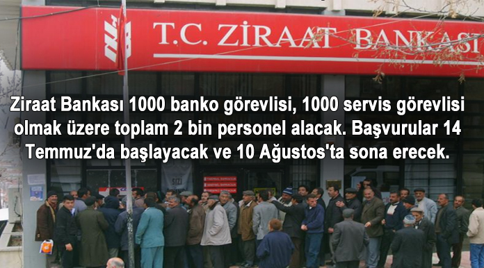 Ziraat Bankası Servis ve Banko Görevlisi Alımı 2015